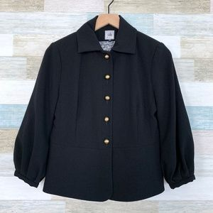 Button Up Blazer Jacket Black Ponte Knit CAbi